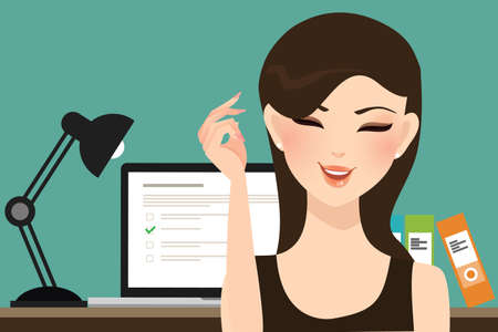 quiz test: woman girl do online test exams quiz with computer laptop assessment vector