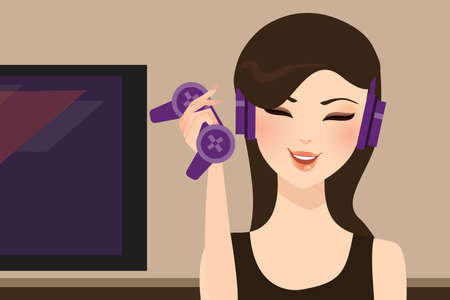 gamer: girl gamer holding joy stick wearing head set vector