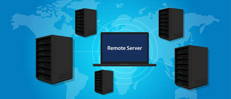 remote server: remote server connecting manage computer online world wide anywhere vector