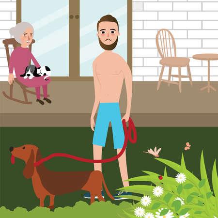 L'homme joue avec la chemise de chien tandis que la vieille femme assise dans le fauteuil de roche derrière vecteur