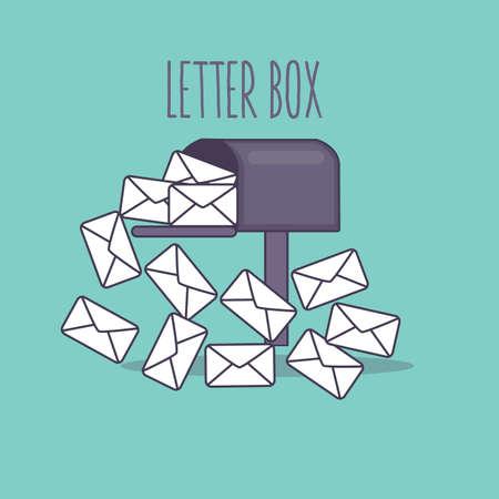 pleine boîte aux lettres email de boîte aux lettres de la boîte de réception icône plat illustration enveloppe vecteur Vecteurs