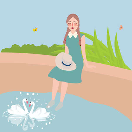 toe: girl sitting with foot in water looking at two swan swimming in lake vector
