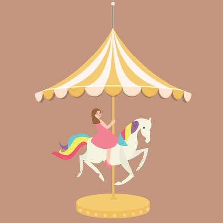 woman girl riding horse carousel cartoon flat carnival illustration vector