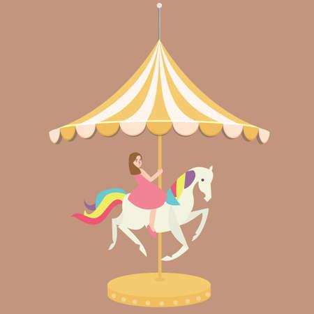 carnival girl: woman girl riding horse carousel cartoon flat carnival illustration vector