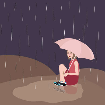 upset woman: woman in rain sad under umbrella vector dark Illustration
