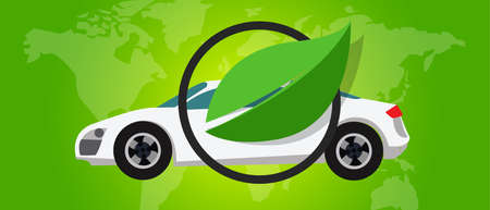 fuel cell: hydrogen fuel cell car eco environment friendly zero emission green leaf vector
