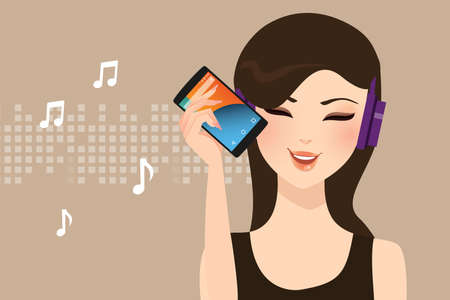 listening to music: woman girl female listening to music streaming online with smart phone wearing head set wire less vector