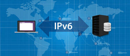 protocol: IPv6 Internet Protocol version 6 connection server computer standard vector