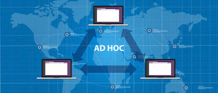 peer to peer: topología de red de pares ad hoc para mirar conexión del dispositivo del vector