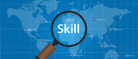 skilled labour: skill shortages find search talented worker qualification vector Illustration