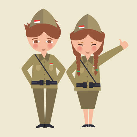 couple kids cartoon wearing freedom fighter army uniform Indonesia vector