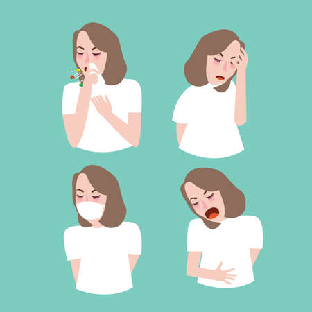 woman girl symptoms sick cough flu vector Illustration