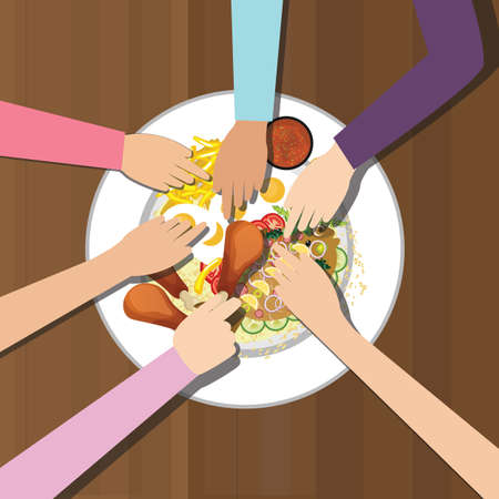 dinner party table: eat together many hands one plate food view from top Illustration