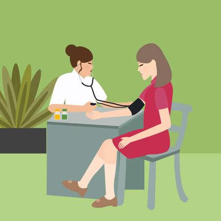 vrouw controle bloeddruk met verpleegkundige medische