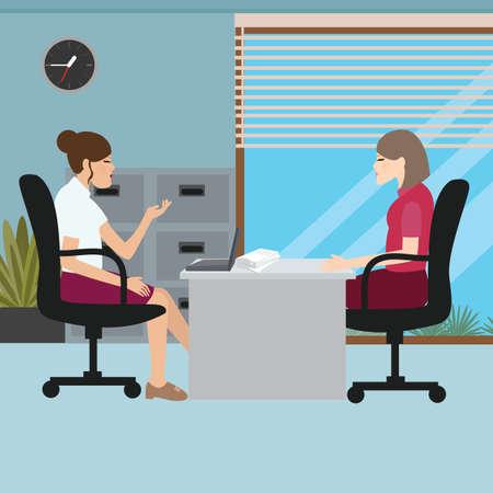 Business-Frau mit ihrem Chef Interview Job sprechen Vektorgrafik