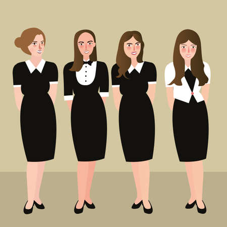 formal dress: woman in formal dress receptionist black and white Illustration