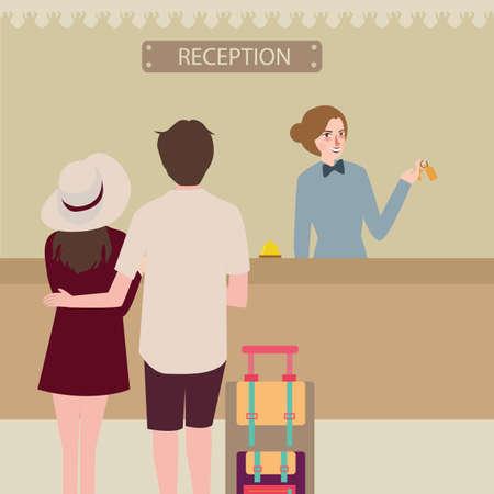 hotel reception: hotel reception girl couple travel check-in Illustration