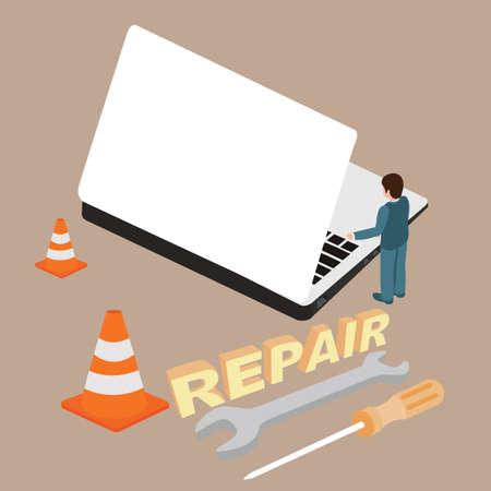 laptop repair: computer laptop repair service maintenance screwdriver equipment service man vector