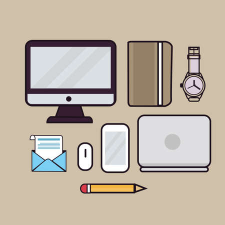 monitor screen: line art illustration outline icon of laptop screen monitor book watches pencil email mouse and gadget