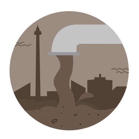 aguas residuales: los residuos de aguas residuales del agua contaminación tubería vector de la ciudad tóxico vertido vector de la industria sucia