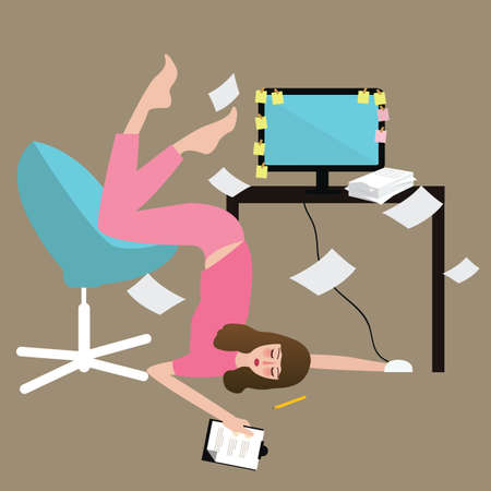woman people hard work tired full of paper overwork exhausted in front of computer vector
