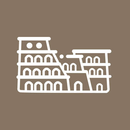 old ruin: Rome colosseum Italy building ancient line art icon flat tourism symbol vector