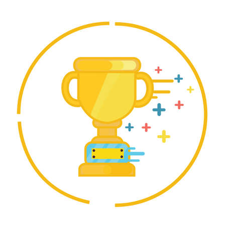 competitive sport: trophy gold cup winner symbol icon champion flat vector Illustration
