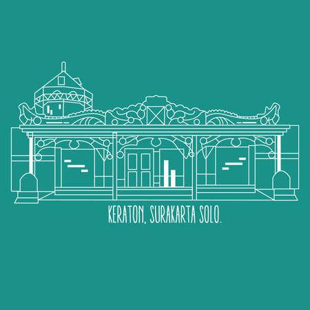 Indonesia yogyakarta surakarta historic building keraton vector