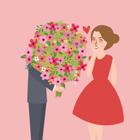 romantic man: man give large flower bouquet to his girl friend couple romantic moment vector