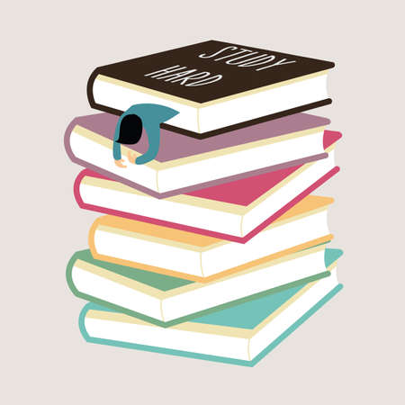 literary man: study hard man tired fall asleep between stack of book vector