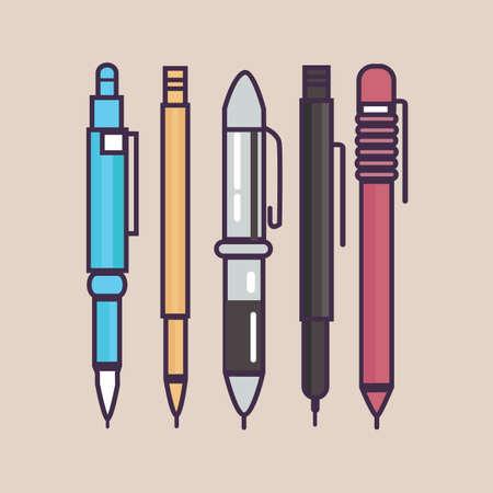 ball pens stationery: pen ballpoint pencil set outline thin illustration vector