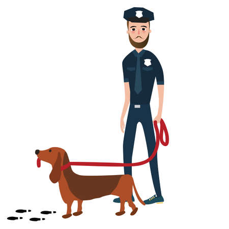 trained: police officer cop with trained dog vector Illustration