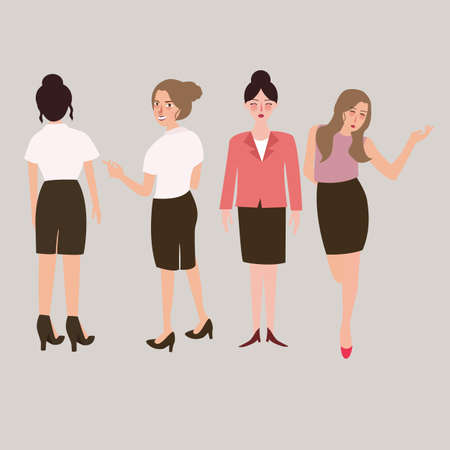full length portrait: business woman standing isolated vector female full body