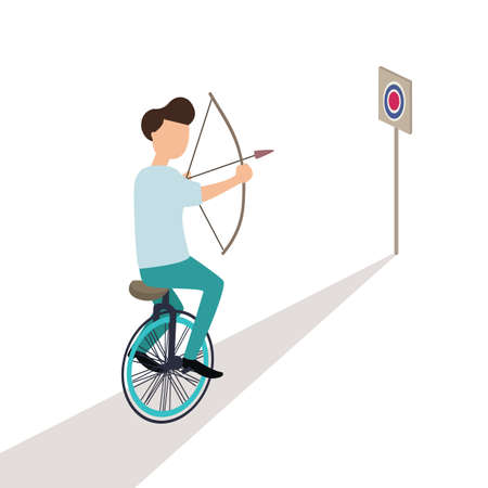 business aiming target while riding cycle trick vector Illustration