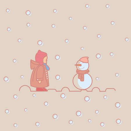 children at play: kids children play with snow man winter vector