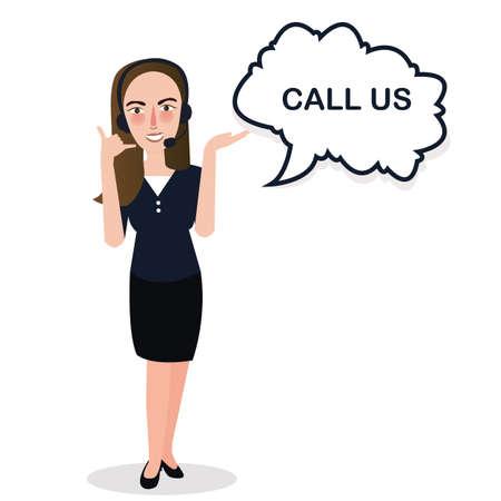 call centre girl: girl call us center standing support vector Illustration