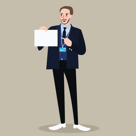 man holding sign: hiring recruitment business man holding sign pointing white paper vector