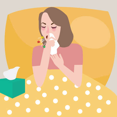 sneeze: girl woman get flu sneeze bed rest cough spreading virus vector