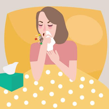 estornudo: mujer chica recibe la gripe cama estornudo resto tos difusión vector de virus