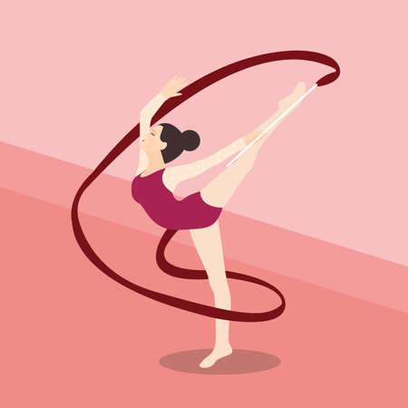 synchronized: synchronized ribbon rhytmic dance athletic young girl performance vector