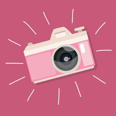 macchina fotografica: retrò rosa macchina fotografica d'epoca icona foto dispositivo di vettore