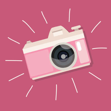 retro camera pink vintage icon illustration photo device vector