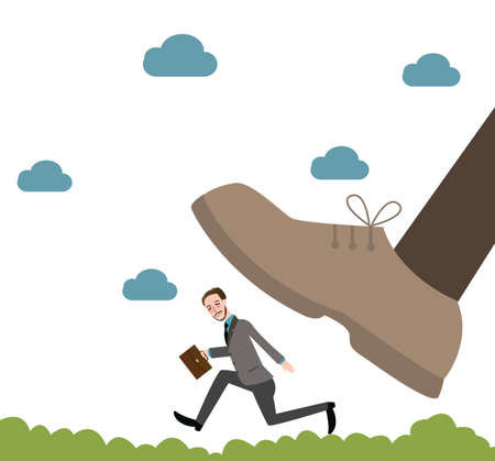 destroying the competition: running from giant unfair competition business big vs small vector Illustration