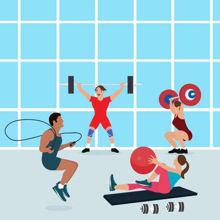 forme et sante: les gens de gymnastique séance d'entraînement ensemble centre de fitness exercice, homme, santé femme intérieur ajustement vecteur