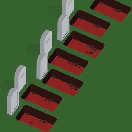 grave yard empty cemetery stone vector die