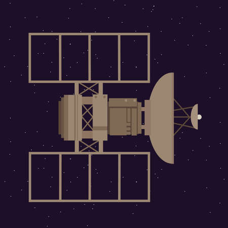 space station: satellite in space orbit navigation communication station vector Illustration