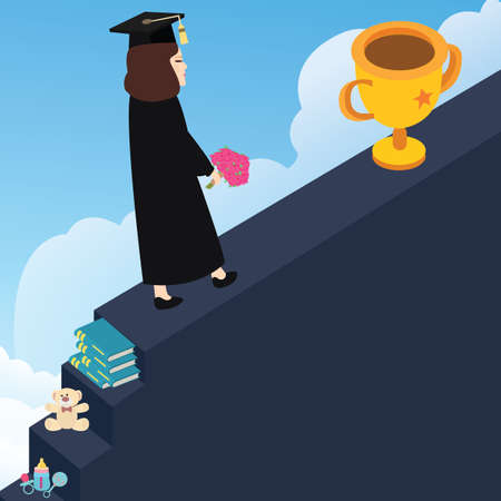 successful student: step by step reach your dream to be winner through education vector Illustration