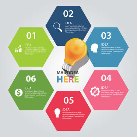 six 6 elements of idea info graphic chart vector bulb idea business shine