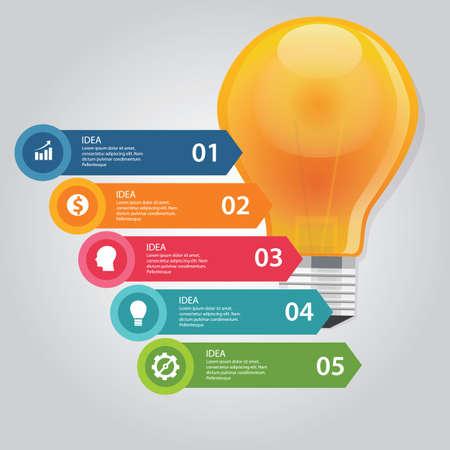 five 5 elements of idea info graphic chart circle vector bulb idea business shine