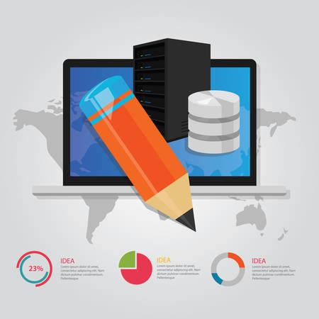 server technology: online education e-learning technology worldwide internet server database pencil vector Illustration